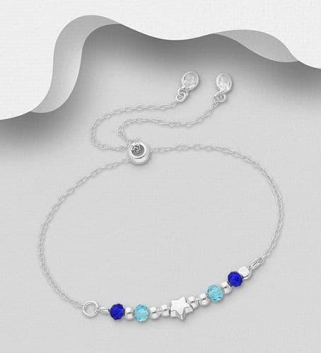 925 Sterling Silver Adjustable Stone Set Bracelet